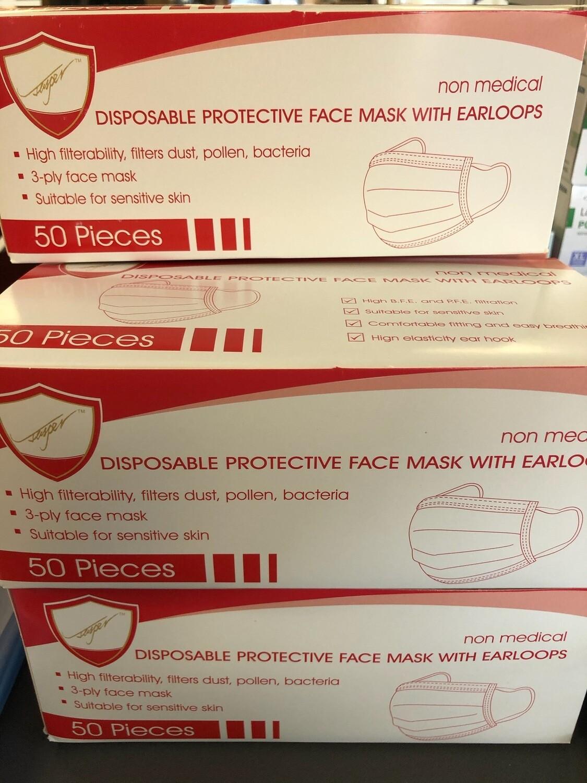 3 Ply Ear loop Masks (50)