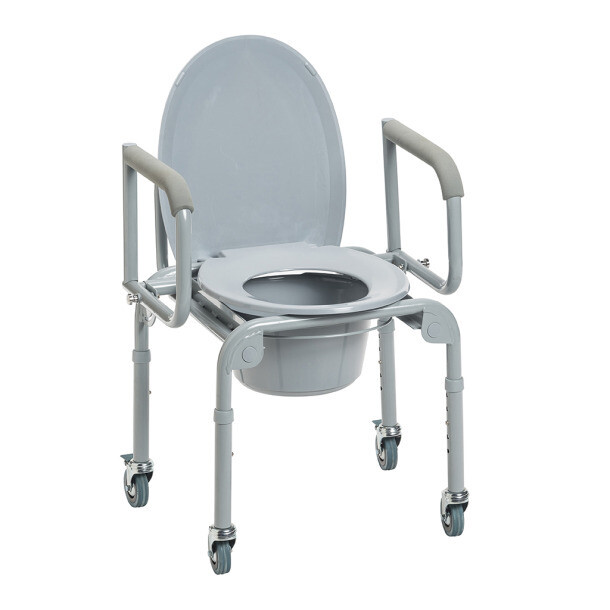 Steel Drop-Arm Commode with Wheels and Padded Armrests