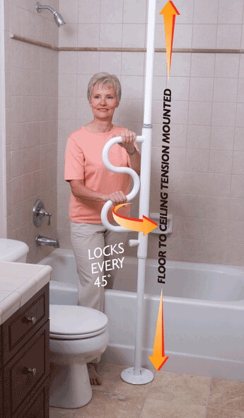 Stander Security Pole w/ Optional Curved Grab Bar LAST ONE!