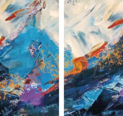 Blue Snow (2-luik) 2 x 70 x 140 cm