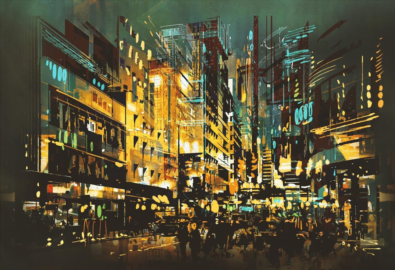 Abstract Stadsgezicht 150 x 100