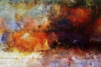 Kleurrijk eigentijds kunstwerk 150 x 100 cm