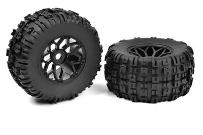 Team Corally Mud Claws bandenset met zwarte velg Monster Truck 1:8