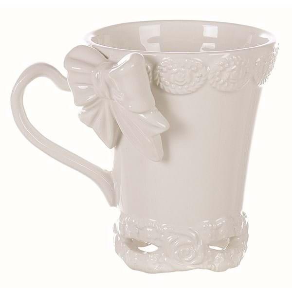 Mug in ceramica Bianca con decoro Fiocco Blanc Mariclò Linea Sentimento