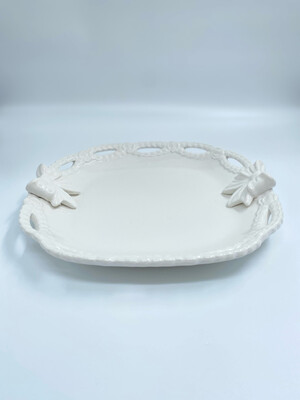 Vassoio in Ceramica Bianca Decoro Fiocco Collezione Sentimento Blanc Mariclò