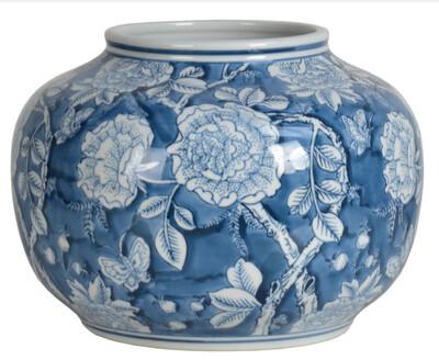 Vaso decorativo in ceramica blu e decori bianchi Blanc Mariclò