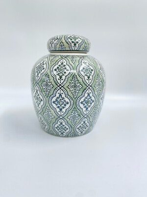 "Vaso con coperchio verde Blanc Mariclo' serie ""Kreisleriana"" in porcellana"