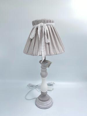 Lorenzon Gift Lampada Da Tavolo Grigia Con Cappello A Righe Decorato