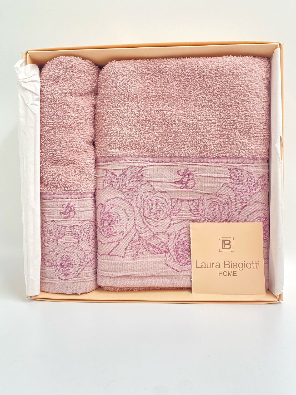 Laura Biagiotti Coppia asciugamani in spugna di 100% cotone Rosa
