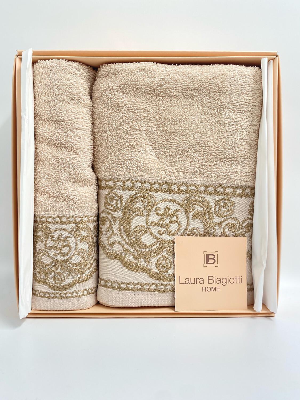 Laura Biagiotti Coppia di asciugamani in spugna di 100% cotone Beige