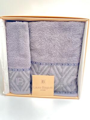 Laura Biagiotti coppia di asciugamani in spugna di 100% Cotone  Grigio