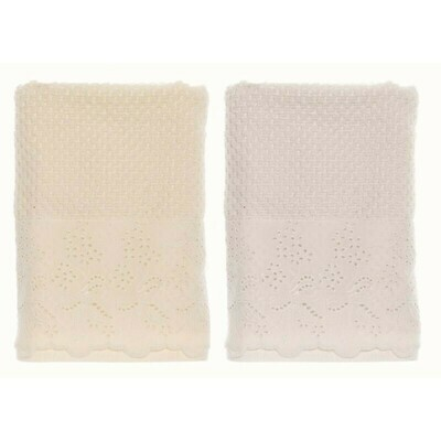 Set Asciugamano in spugna Ricami Bianco Blanc Mariclò Collezione Platea