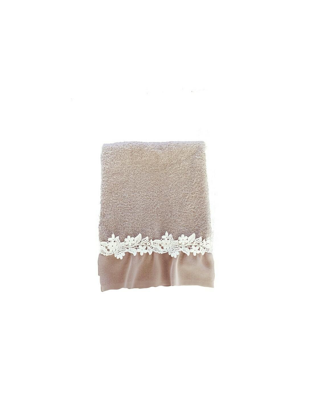 Coppia di asciugamano in spugna con Pizzo e Crochet Rosa Collezione Applauso Blanc Mariclò