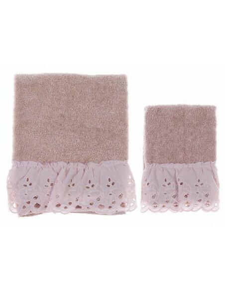 Coppia Asciugamano in spugna Rosa Collezione Cipria Blanc Mariclò