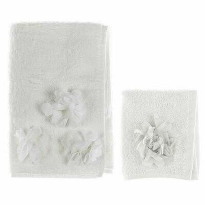 Set Asciugamano in spugna Applicazioni Avorio Collezione Dahlia Blanc Mariclò