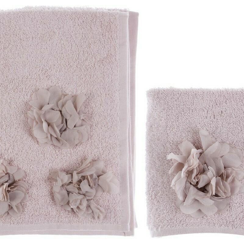 Coppia di Asciugamano in spugna Applicazioni RosaBlanc Mariclò Collezione Dahlia