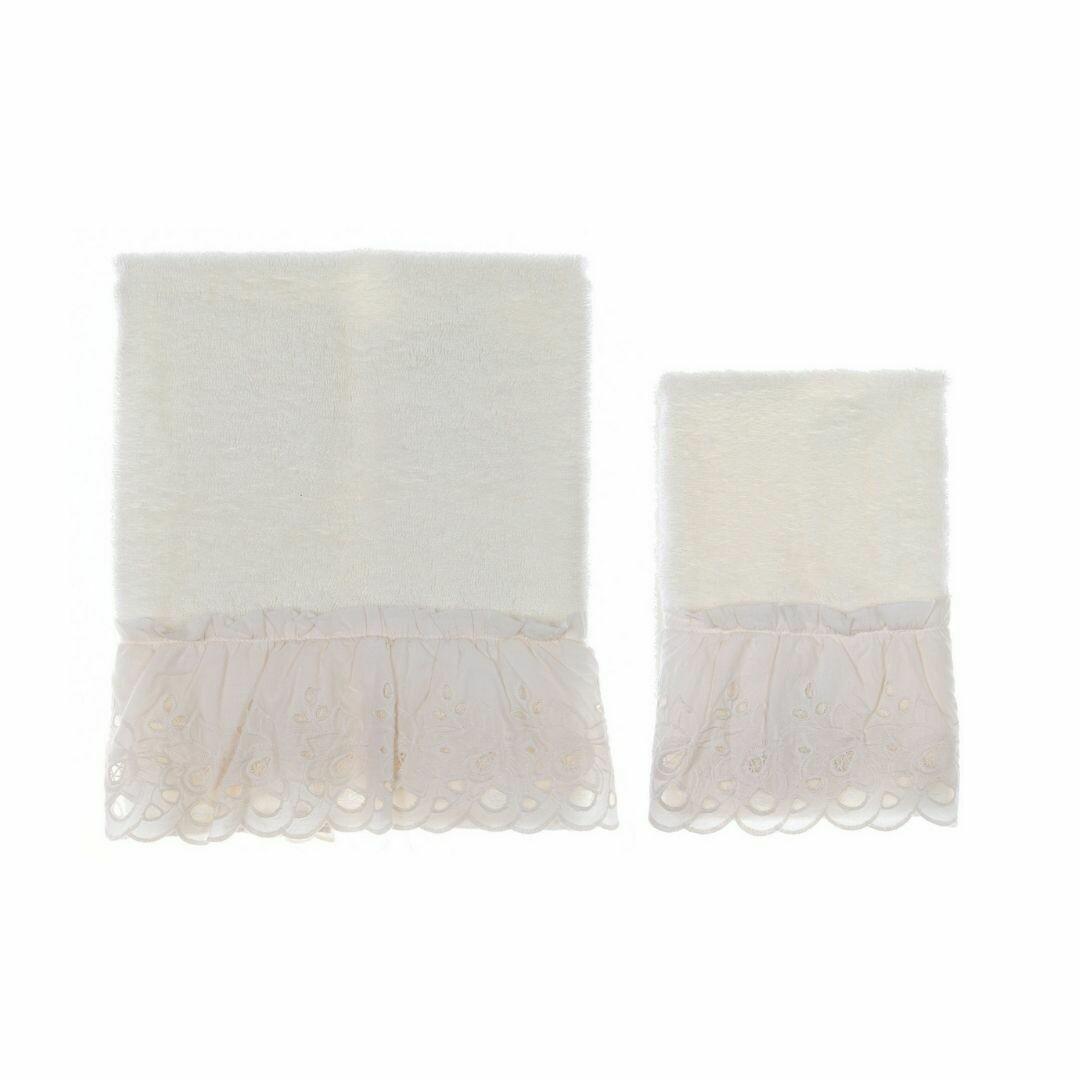 Coppia Asciugamano in Spugna Panna Collezione Cipria Blanc Mariclò