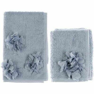 Set Asciugamano in spugna Applicazioni Azzurro Blanc Mariclò Collezione Dahlia