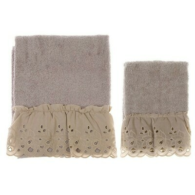 Coppia di Asciugamano in spugna Blanc Mariclò Collezione Cipria Tortora