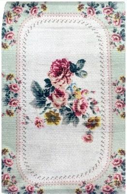Tappeto Decoro Rose 45x75 cm Verde Blanc Mariclò Collezione Elisir d'Amore