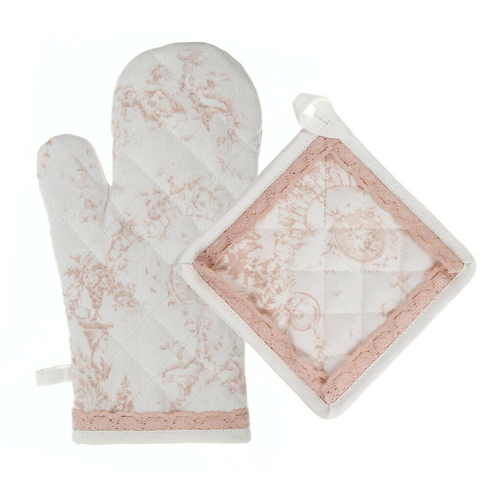 Set guanto e presina Toile de jouy Blanc Mariclò Collezione Queen Mary