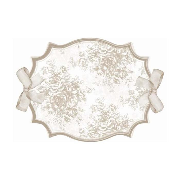 Tovaglietta Ovale Smerlata Con Fiocchi 100% Vinile Cm 50*36 Blanc Mariclo