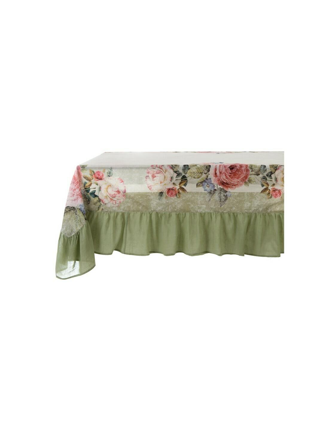 Tovaglia In Cotone con Gala 150 x 220 cm Blanc Mariclò Collezione 50's Vintage Floral