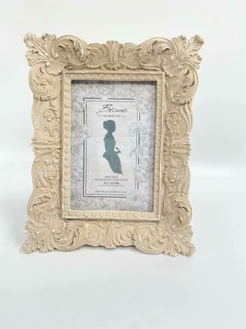 Cornice Portafoto 10x15cm con Decori in Rilievo Antichizzata Blanc Mariclò