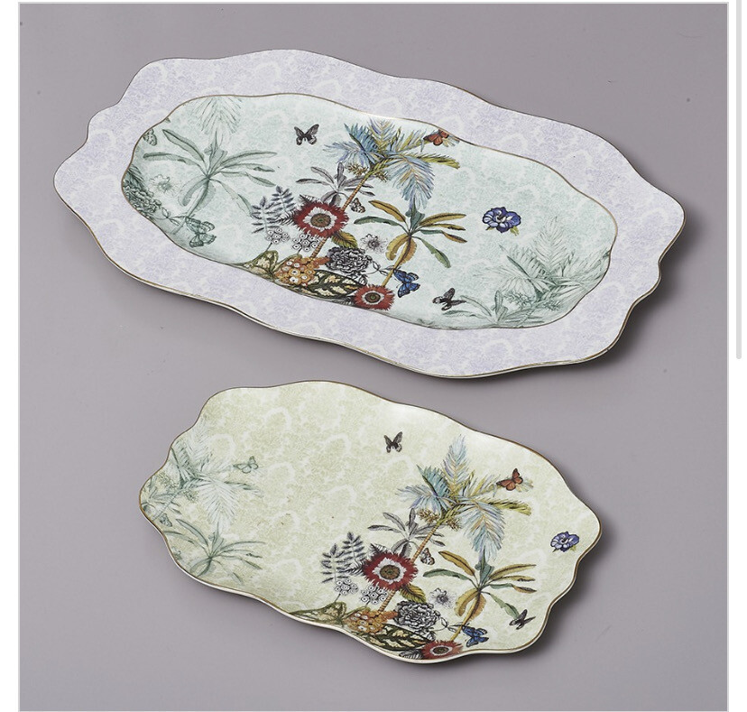 Vassoio ovale in ceramica 40x25cm Collezione Secret Garden Henriette
