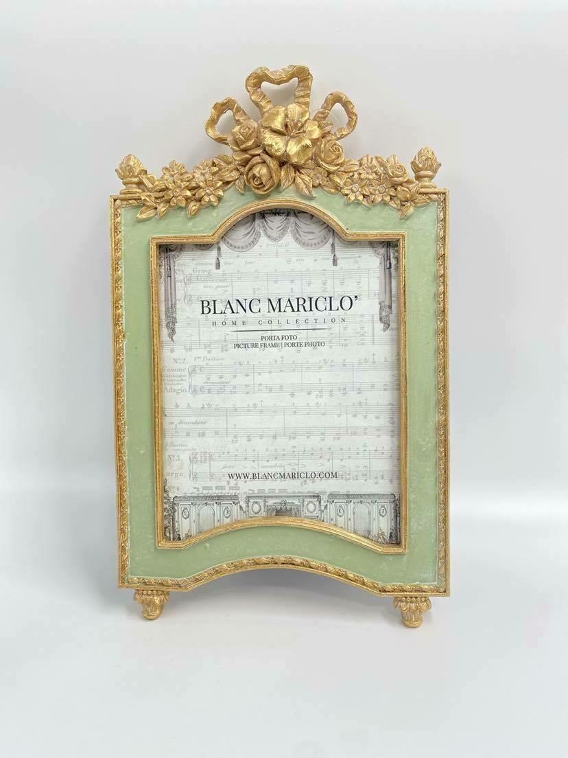 Portafoto in resina con decori in rilievo 21x30cm Blanc Mariclò