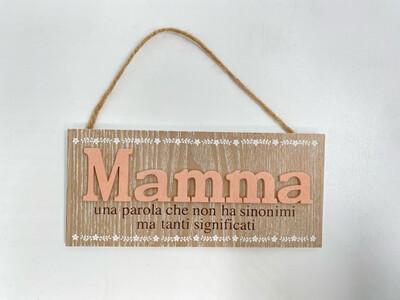 """Targhetta in legno Festa della Mamma """"Mamma una parola che..."""""""