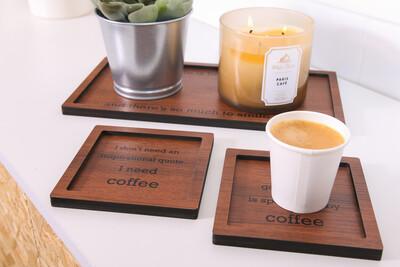 Coffee Tray Set - Brown Wood