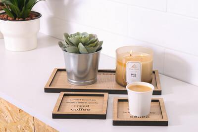 Coffee Tray Set - Light Wood