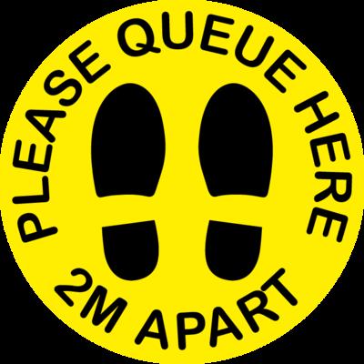 10 Pack - Please Queue Here 2M Apart Floor Sticker