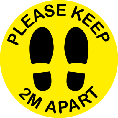 10 Pack - Please Keep 2M Apart Floor Sticker