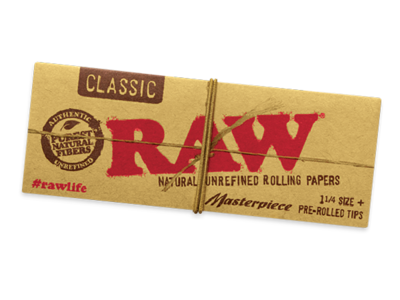 Raw Classic Masterpiece 1 1/4 Leaves + Pre-Rolled Tips