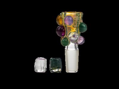 NugPlug Silver Fume Purple/Slyme/Red Wart w/ 2 Marbles 14mm