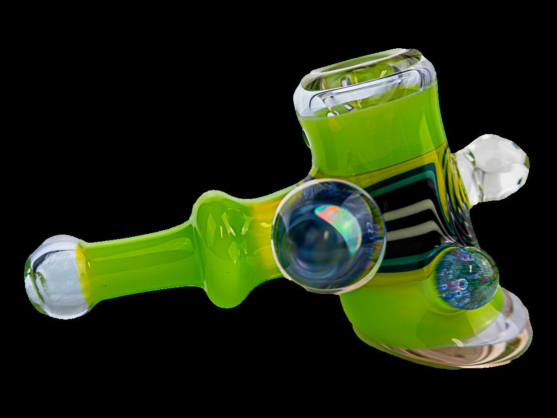 Oats Glass Green Wig Wag w/ Opal Hammer