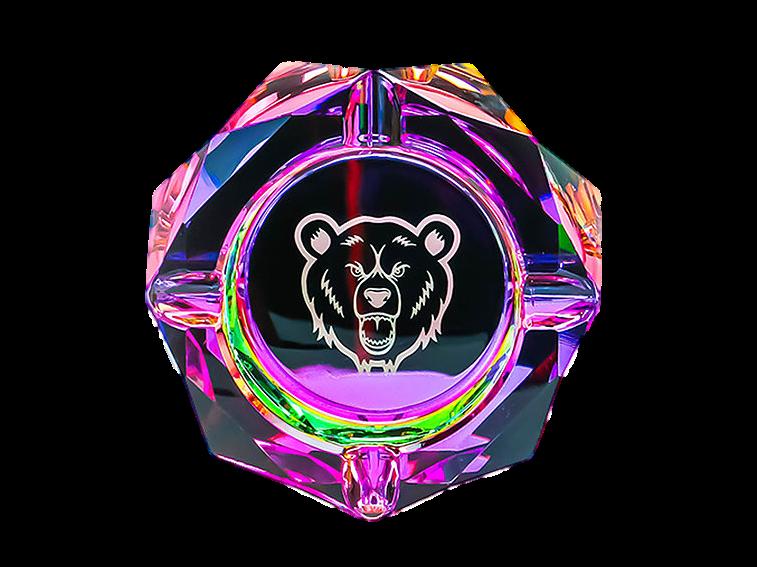 Green Bear Glass Prism Ash Tray Medium 4.5