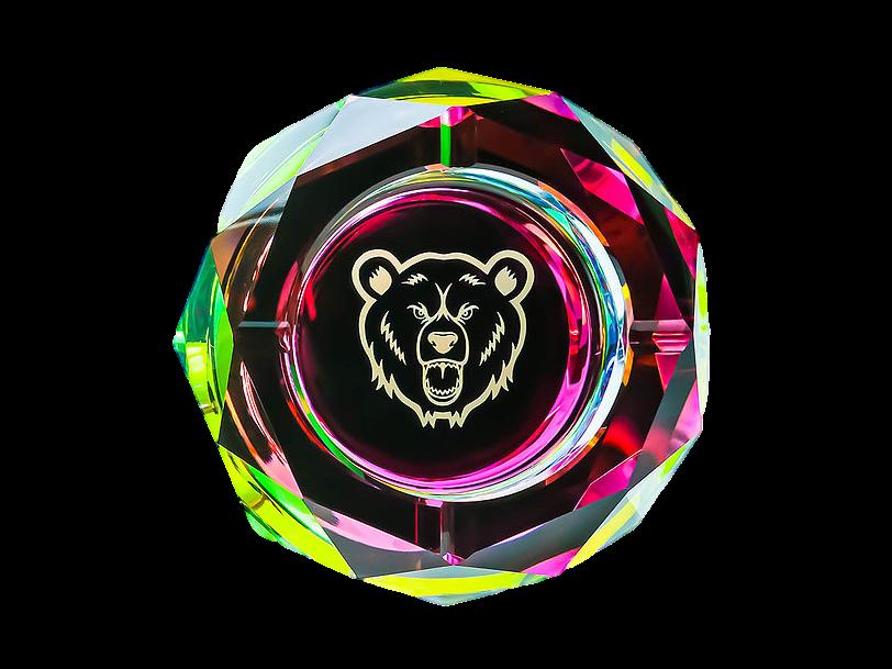 Green Bear Glass Prism Ash Tray Large 6