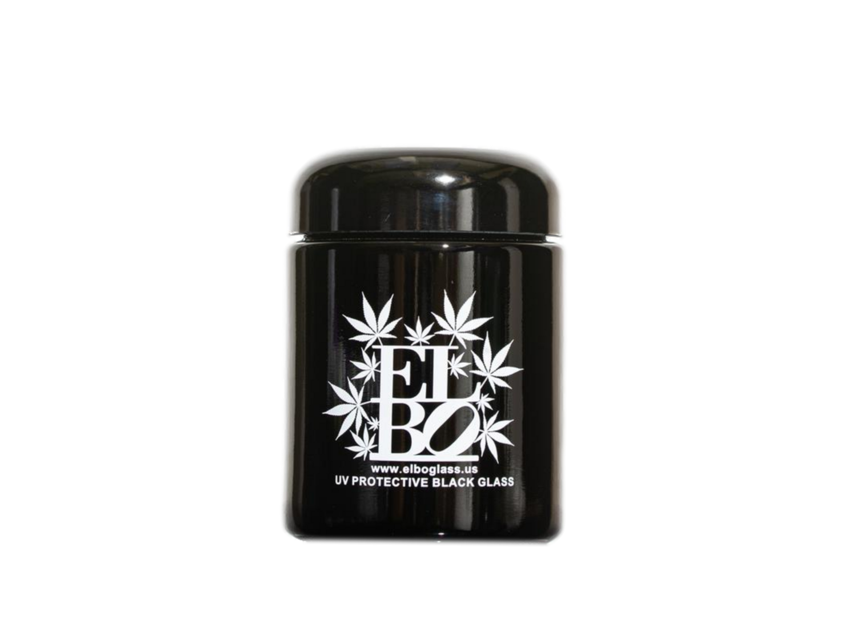 Elbo UV Protective Black Glass Half Ounce Jar