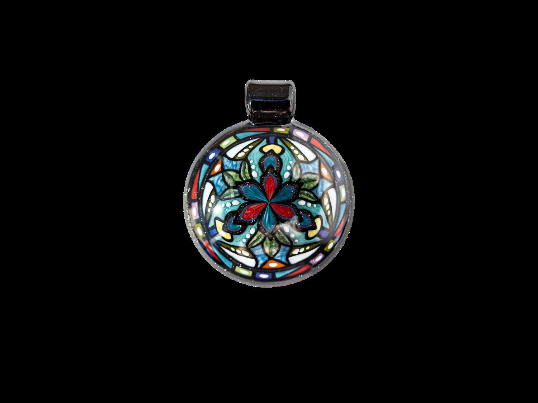 Dew Glass Blue & Red Flower Pendant