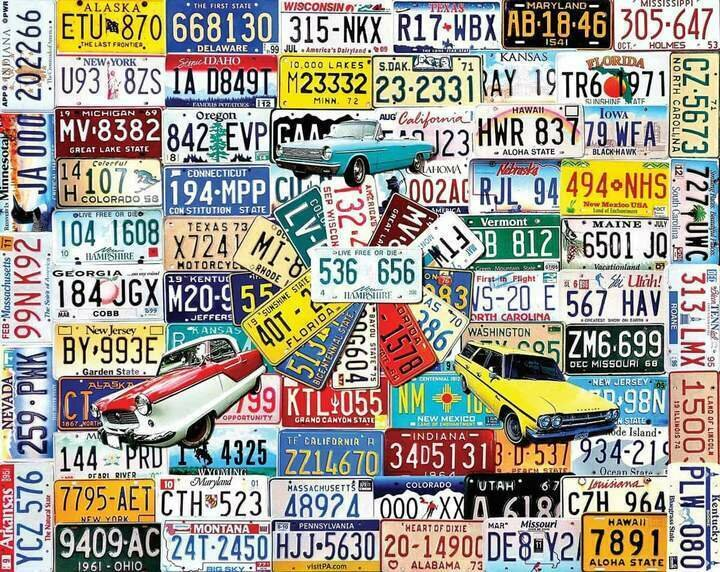 License Plates - 1000 Piece Jigsaw Puzzle