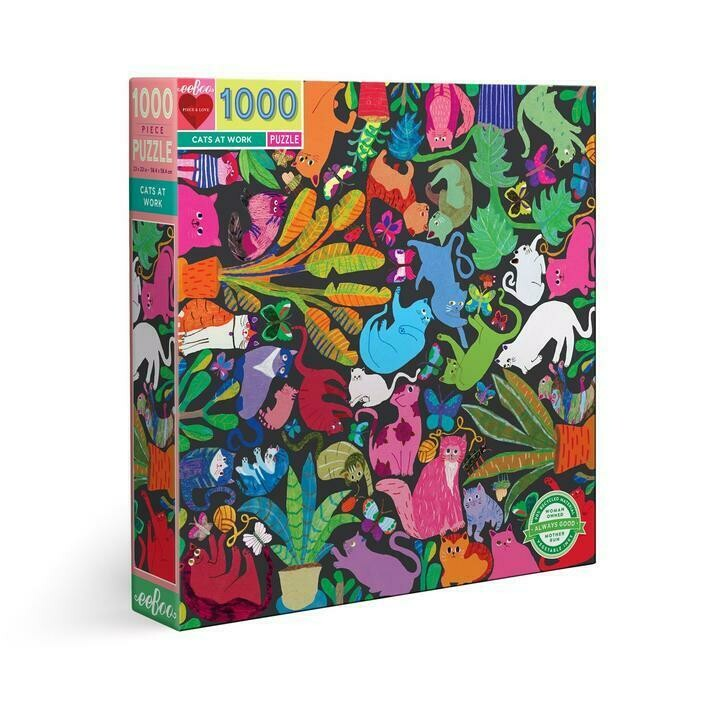 eeBoo Cats at Work 1000 Piece Puzzle