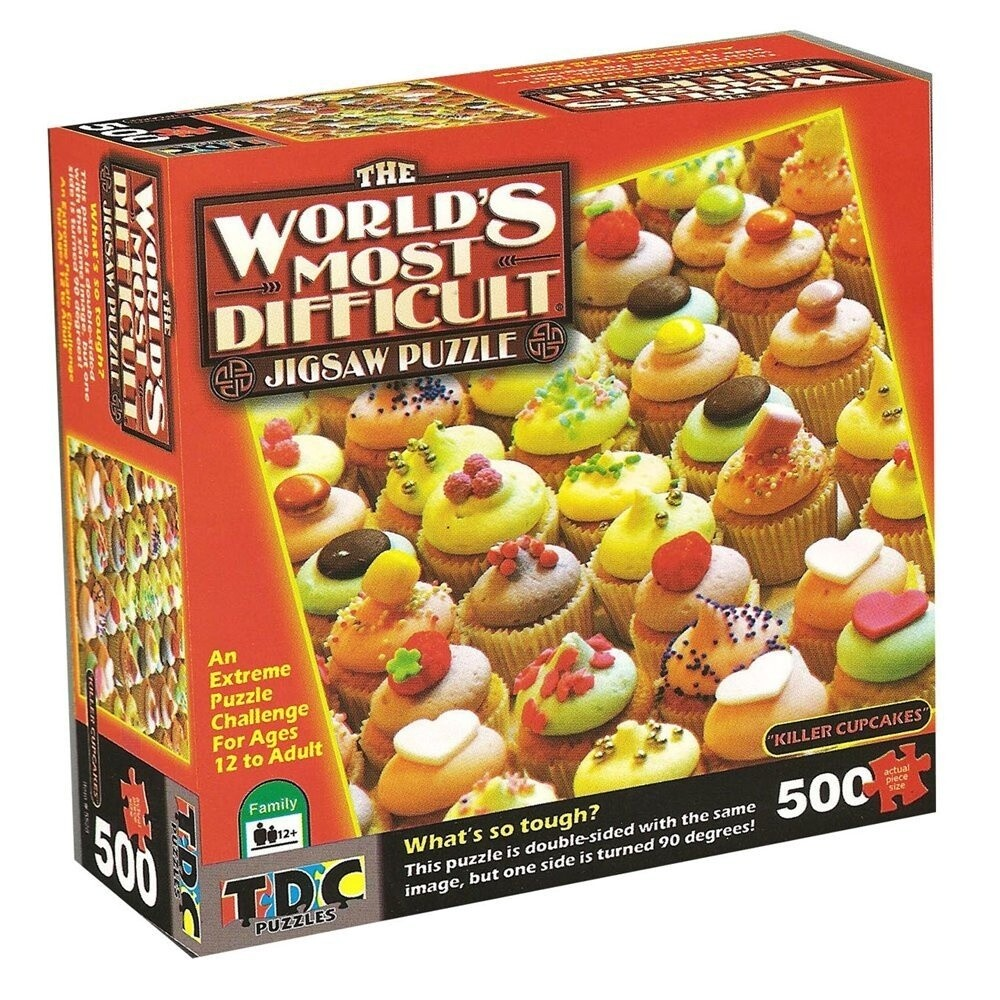 World's Most Difficult: Killer Cupcakes - 500pc Double-Sided Jigsaw Puzzle by TDC