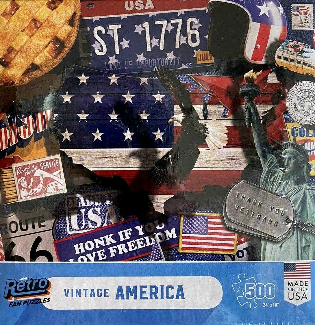 "RETRO VINTAGE AMERICA - 500 PIECE PUZZLE - RETRO FAN PUZZLES USA SEALED 24""X18"""