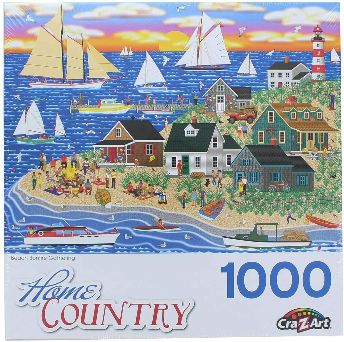 Beach Bonfire Gathering by Mark Frost 1000 Piece Puzzle