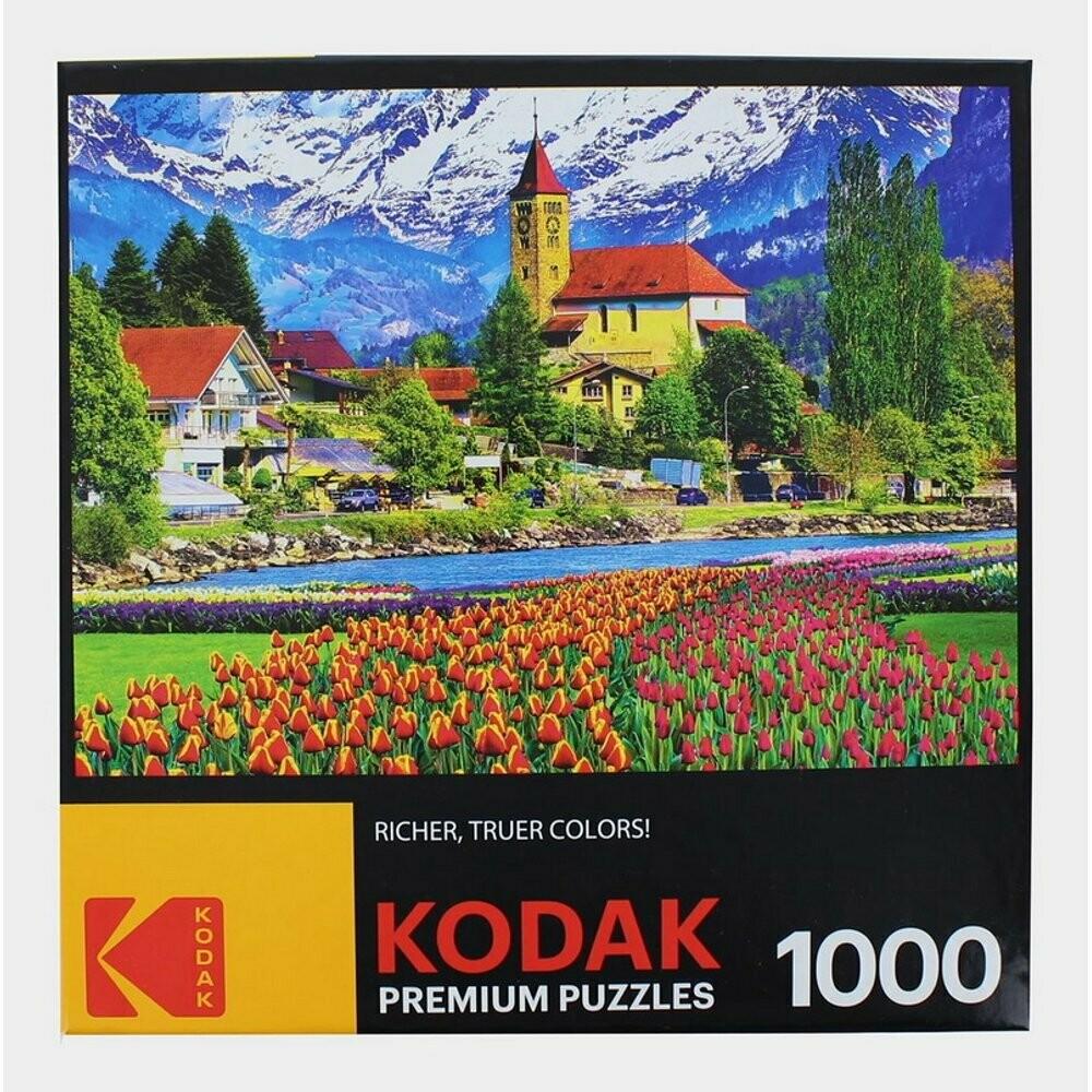 Cra-Z-Art Kodak 1000 Piece Jigsaw Puzzle - Brienz Town and Flowers Switzerland
