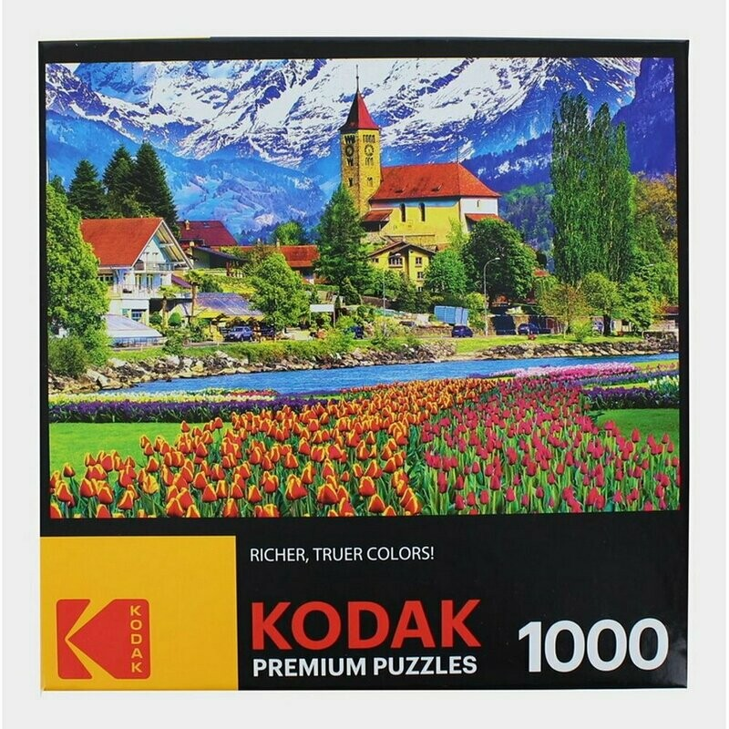 Cra-Z-Art Kodak 1000 Piece Jigsaw Puzzle - Brienz Town and Flowers Switzerland