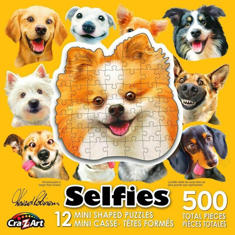 Cra-Z-Art 12 Mini Shaped Dog Selfie Puzzles- 500pcs total